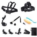 Accessories Set Kit 11 in 1 for Gopro Hero 4 3+ 3 2 Bag Monopod Head Chest Stap