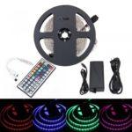 BRELONG 5M 300*5050SMD RGB Strip Lights With Bare Board +44 Key Controller + 5A US/EU Power AC100-240V