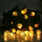 2M-20LEDs LED String Fairy Lights Rattan Balls Warm White Lighting Christmas Halloween Party Decor DC4.5V