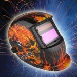 Auto Darkening MIG TIG Grinding MIG/TIG Solar Powered Helmet Flame Skull Design