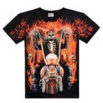 3D Ghost Rider Crew Neck Short Sleeve Tee Shirt for Men
