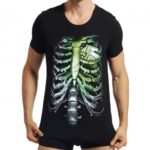 3D Skull Skeleton Crew Neck Short Sleeve Tee Shirt for Men