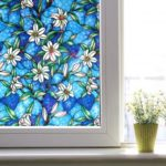 Colorful Lily Pattern Static Frosted Window Film Glass Film