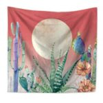 Watercolor Cactus Landscape Tapestry Wall Hanging