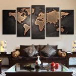 5PCS Unframed Vintage World Map Canvas Art Painting Wall Decor