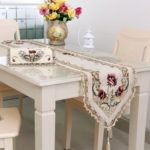 Modern Embroidered Flower Table Runner 40 x 176cm