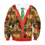 Fake Two-Piece Printed Pullover Christmas Sweater for Women