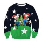 Super Mario Pattern Women's Crewneck Long Sleeves Sweatshirt