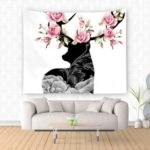 Deer with Flowers Wall Hanging Tapestry Modern Home Decor Wall Blanket Wall Rug