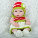 Silicone Lifelike Newborn Baby Doll in Green Red Dress