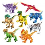 8Pcs Jurassic Park Dinosaur Figure Toy Building Block Set
