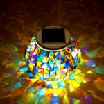 CP-51 Solar Powered Mosaic Glass Ball Lawn Lamp with Colorful LED Light