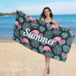 Flamingo & Leaves Print Beach Towel Spa Pool Bath Big Towels 80 x 160cm