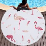 Flamingo Print Microfiber Round Beach Blanket Towel Mat with Tassels