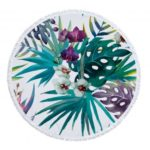Leaves Print Beach Round Towel Spa Bath Pool Big Towels with Tassel