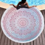 Mandala Style Print Tassel Round Towel for Bath/Beach