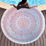 Mandala Style Print Tassel Round Towel for Bath/Beach