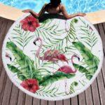 Microfiber Flamingo Print Tassel Round Towel for Bath/Beach/Yoga