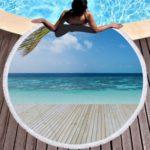 Microfiber Printed Sea View Tassel Round Beach Towel Blanket
