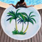 Printed Round Microfiber Tassel Beach Towel Blanket
