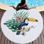 Stylish Flamingo Print Microfiber Round Tassel Towel for Bath/Beach/Yoga