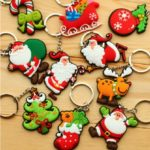 5pcs/Pack Soft PVC Christmas Style Keychain Key Ring – Random Delivery
