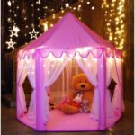Romantic Princess Castle Play Tent with Star String Light & Ocean Balls