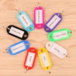 10pcs/Pack Plastic Key ID Luggage Tags with Label Window & Key Ring – Random Color