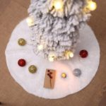 122cm White Faux Fur Christmas Tree Skirt Home Decoration