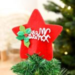 15cm Mini Red Pentagram Christmas Tree Topper Decoration