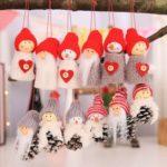 15PCs Christmas Hanging Ornaments Christmas Santa Claus Snowman Pine Cone Hanging Dolls