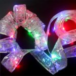 1m Glitter Ribbon LED Copper Wire String Light Christmas Tree Decoration 3Pcs/Pack