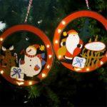 2PCs Snowman/Santa Claus Christmas Tree Hanging Ornaments with Lights