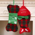 2pcs Fish/Bone Shape Christmas Stockings Gift Bag Hanging Ornaments