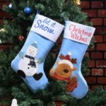 2PCs 45cm Embroidery Blue Snowman / Elk Plush Christmas Stockings