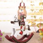 30cm Wooden Rocking Horse Nutcracker Soldier Figurine Christmas Decor
