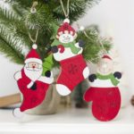 3PCs Wooden Snowman / Santa Clause / Elk Christmas Tree Ornaments