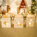 3PCs Santa/Snowman/Elk Wooden Christmas Candle Holder