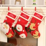 3PCs 45cm Large Christmas Stockings Red Plush Candy Bags