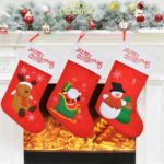 3PCs 42cm Plush Christmas Stockings Candy Bags Gift Bags – Red