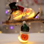 3PCs 8 x 15cm LED Lighted Transparent Christmas Balls – Elk/Snowman/Santa Claus