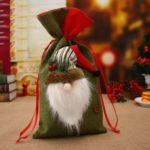 3PCs 20 x 38cm Santa Clause / Snowman / Elk Drawstring Christmas Burlap Gift Bags