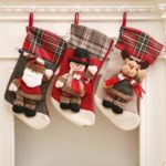3PCs 43cm Plaid Santa Claus / Snowman / Elk Christmas Stockings