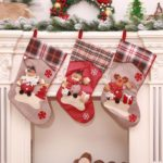 3PCs 44cm Santa Clause / Snowman / Elk Plaid Christmas Stockings