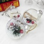 3PCs 8cm Transparent Plastic Christmas Balls with Red Berry Pine Cone