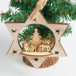 3PCs Wooden Star Christmas Tree Ornaments Pendants Decoration