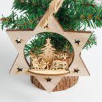 3PCs Wooden Star Christmas Tree Ornaments Pendants Decoration