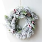 40cm Artificial Pinecone Red Berry Snow Dusted Christmas Wreath