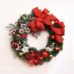40cm Poinsettia Christmas Wreath for Door Window Decoration