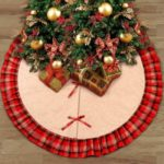 48 Inch Christmas Tree Skirt Plaid Ruffle Round Mat Party Holiday Decoration